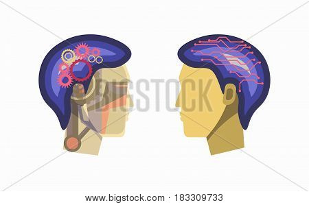 Vector illustration of cyborg person face with cogs and wires inside a head on the white background.