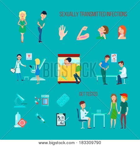 Colored flat and isolated sexual health diseases icon set with different infections symptoms and methods of treatment vector illustration