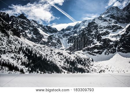 Tatry Polsih mointains in winter time, Poland