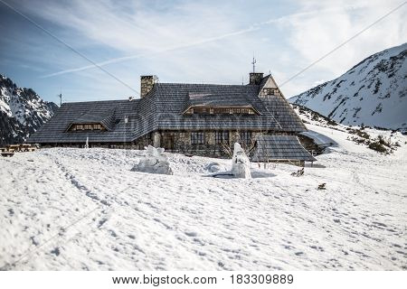 Mountain shelter in Polish mountains Tatry Valley piec stawow polskich winter time