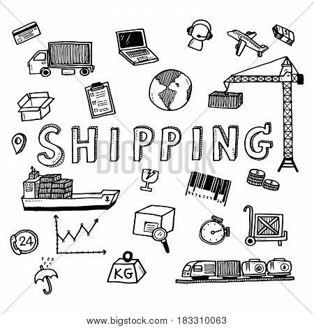 Hand Draw Shipping Business Doodles Icon Set For Global Transportation Import,export And Logistic Bu