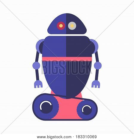 Vector illustration of adorable blue robot isolated on white.