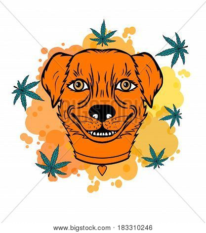 Smiling dog with a leaf. Character for the coffeeshop of Holland. Vector illustration isolated on white background.