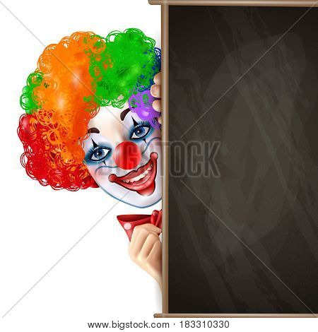 Circus clown smiling face shows from behind black chalkboard bright colorful composition advertisement poster realistic vector illustration