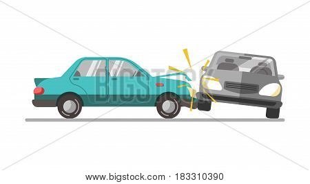 A blue car wrecked into the gray one isolated on white. Vector illustration.