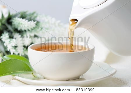 pouring hot black tea in a white tea cup Tea ceremony time concept