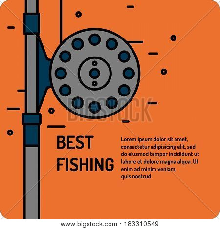 Modern vector illustration of the best fishing in linear style on a blue background with reel and spinning reel. Suitable as a banner poster or template for your blog or online store