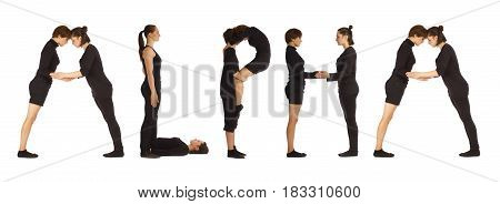 Black dressed people forming word ALPHA on white background