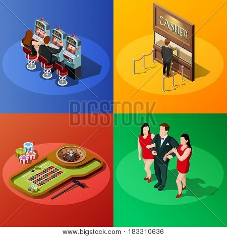 Casino 2x2 design concept with slot machine roulette cashier and winner square compositions isometric vector illustration