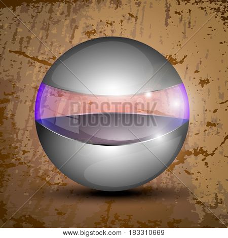 Vector illustration of the gray colored ball with clear line and purple illumination.