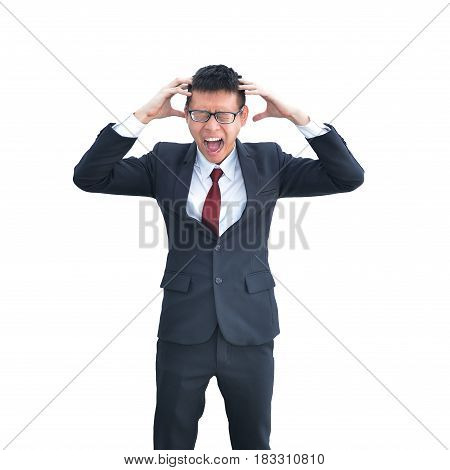 Asian Business Man Freaking Out Isolated On White Background, Clipping Path Inside