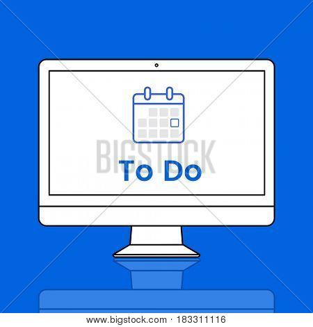 Illustration of personal organizer calendar on computer