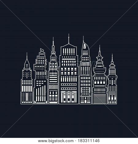 White Modern Big City on Black Background, Architecture Megapolis with Buildings and Skyscrape,r City Financial Center in Line Style, Black and White Vector Illustration