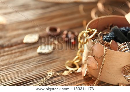Collection of bijouterie in jewelry box