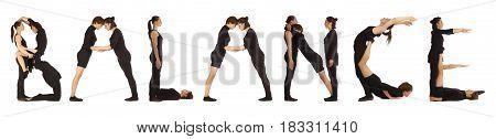 Black Dressed People Forming Word Balance