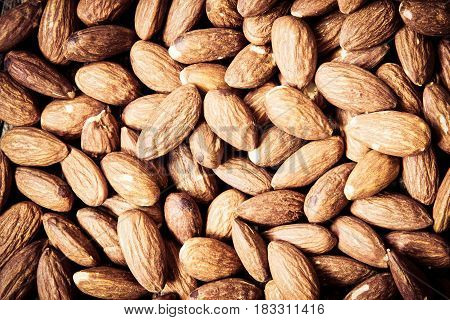 close up the Peeled almonds nut background