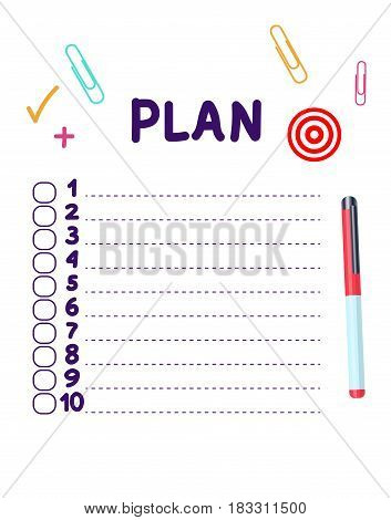 Illustration New Plan list, Vector illustration isolated on white background.  Concept of personal scheduling template. List, pen, notepad diary, plus.