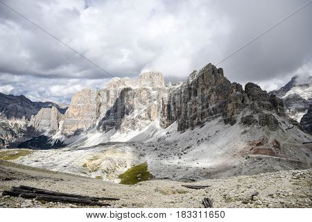 Dolomites italy, rocky moutains, summer time, cloudy weather