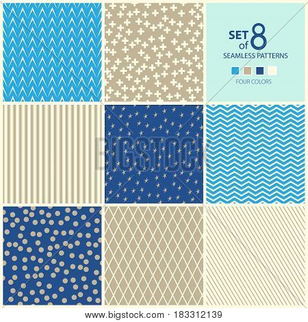 Set of Eight Geometric Seamless Patterns, Plus Sign and Strip and Stars, Rhombus and Polka Dots, Wave and Herringbone,Four Colors ,Vector Illustration