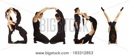 Black Dressed People Forming Word Body