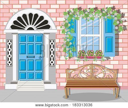 Stylish facade brick building with vintage bench. Vector set - door, window, bench, flowers. Vector illustration.