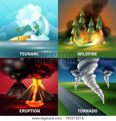 Natural disasters design concept with tsunami volcano eruption with lava and ash wildfire tornado isolated vector illustration