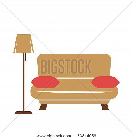 Vector illustration of a brown couch with standard lamp and red pillows on a side.