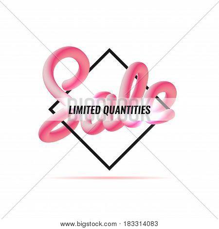 Billboard. Banner sale. Geometric figure Blend letters Vector