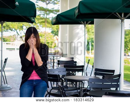 Beautiful Young Asian - Chinese Woman Sneezing / Cough