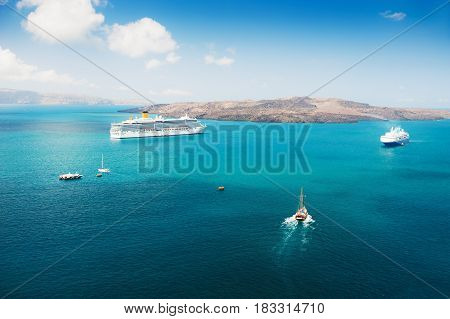 Cruise Ship At The Sea Near The Greek Islands.
