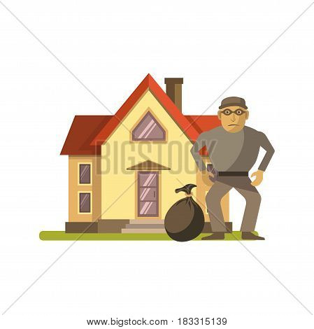 Vector illustration of robber with bag standing at residential house.