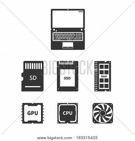 Laptop hardware Icons PC Components. Vector illustration