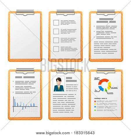 Bright realistic checklist on wooden board isolated on white