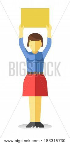 Vector illustration of an unrecognizable woman holding a clear sign over her head.