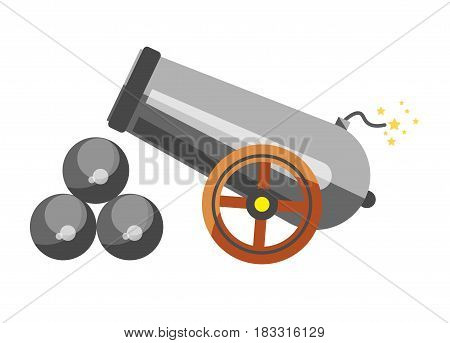 Vector illustration of a cannon with the balls for shooting isolated on white.