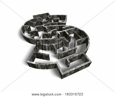 Money Shape Maze In Old Dirty Concrete Textured