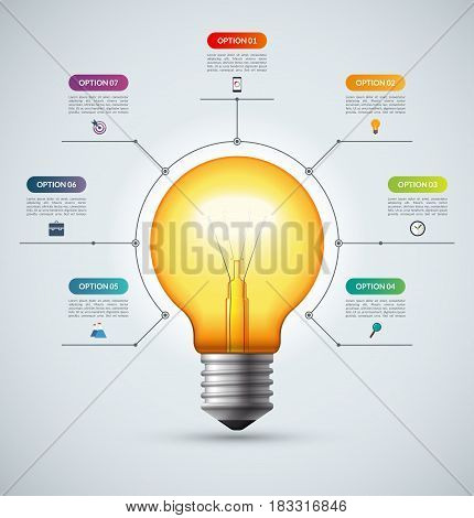 Lightbulb infographic template with 7 options. Creative idea concept. Can be used for circular chart, cycle diagram, graph, workflow layout, web design. Vector background