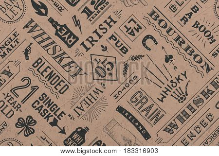 Seamless pattern with types of whiskey and hand drawn lettering for bar, pub, cafe, fest and party. Vintage drawing for placemat, bar menu, t-shirt print and whiskey themes. Vector Illustration