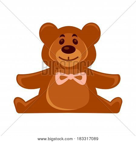 Vector illustration of cute toy plush bear isolated on white.