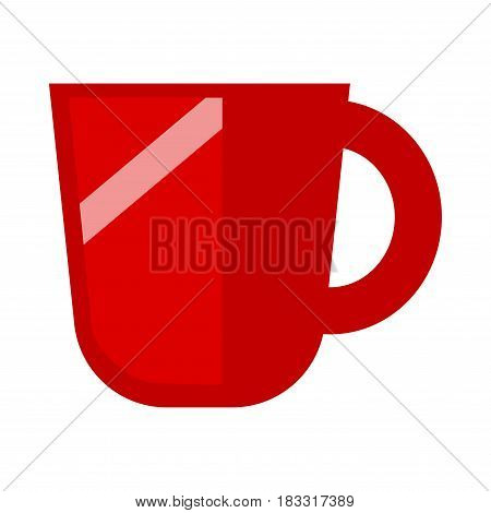Vector illustration of red colored big cup isolated on white.