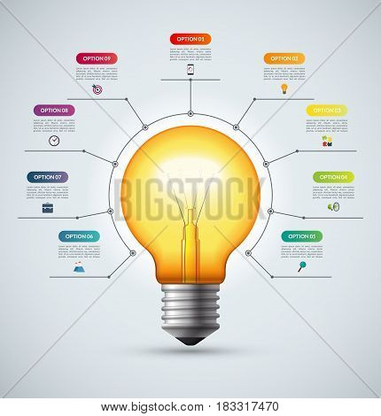 Lightbulb infographic template with 9 options. Creative idea concept. Can be used for circular chart, cycle diagram, graph, workflow layout, web design. Vector background