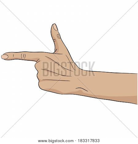 Bang hand gesture pay attantion pointing target