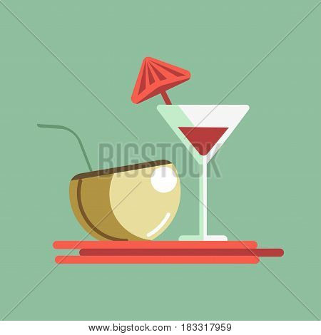 Vector illustration of different cocktails placed on red server isolated on green