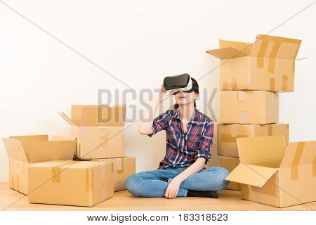 Woman Moving And Experience Vr Device