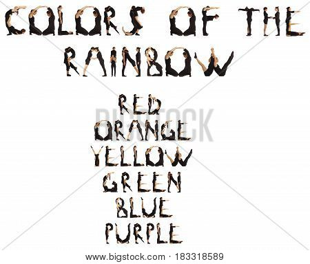 People Forming Colours Of The Rainbow