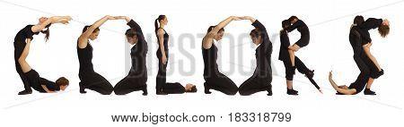 Black Dressed People Forming Word Colors