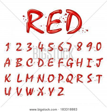 Liquid Red Alphabets And Numbers Collection