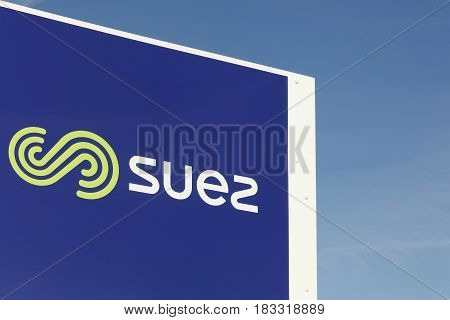 Saint Georges, France - February 1, 2017: Suez Environnement is a French-based utility company which operates largely in the water treatment and waste management sectors