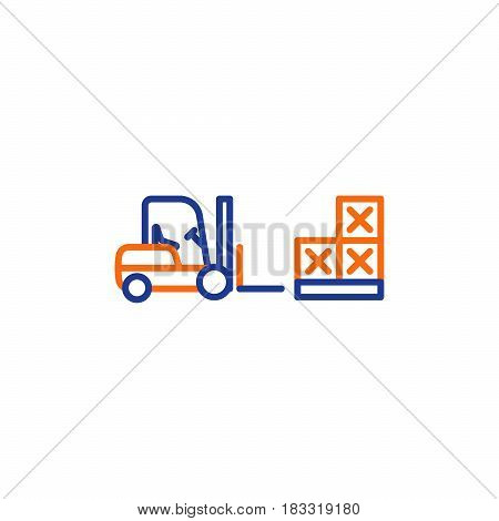 Fork lift truck loader, pallet with stacked boxes, warehouse storage services, asset relocation, vector mono line icon poster