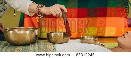 Tibetan Singing Bowl, Color Image, Indoors, Toned Image